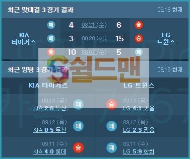 9월14일 LG 기아 KBO국야 아이언맨 분석