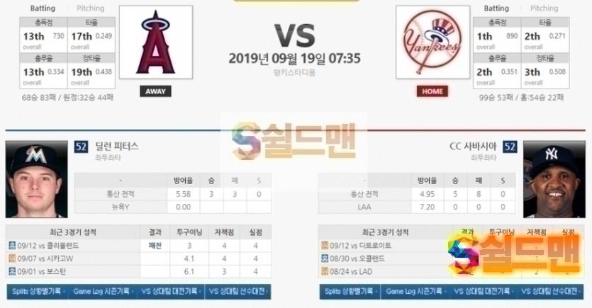 9월 19일 MLB 야구분석 [ LA 에인절스 vs 뉴욕 양키스] 믈브 미국 야구 아이언맨 분석