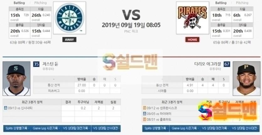9월 19일 MLB 야구분석 [ 시애틀 vs 피츠버그] 믈브 미국 야구 아이언맨 분석
