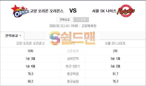 ■ KBL 2월 12일 남농 오리온스 VS 서울SK 쉴드맨 추천픽 ■