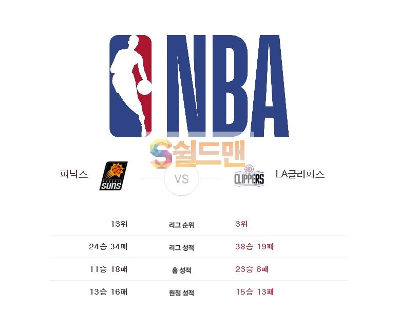NBA 2월 27일 느바 피닉스 VS LA클리퍼스 경기분석 및 쉴드맨 추천픽