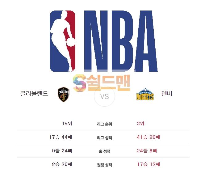 NBA 3월 8일 느바 클리블랜드 VS 덴버 경기분석 및 쉴드맨 추천픽